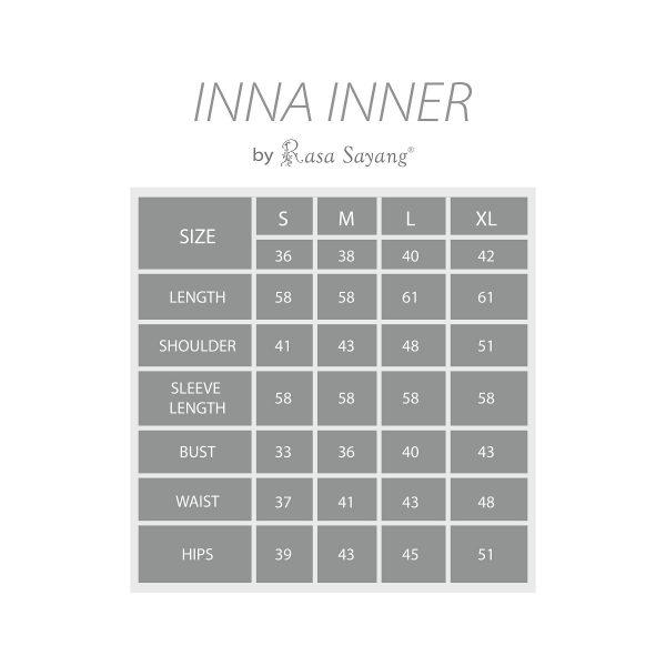 Fesyen Rasa Sayang, inner muslimah, Inna Inner Muslimah Size Chart