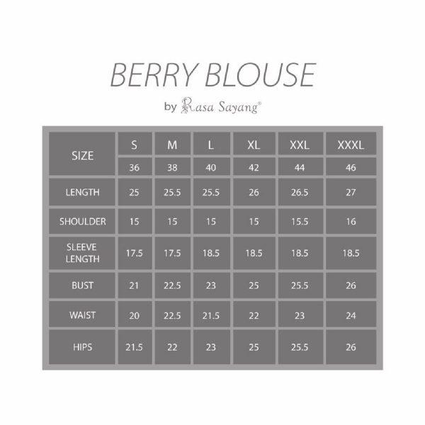Fesyen Rasa Sayang, blouse muslimah malaysia, Berry Blouse Muslimah Size Chart