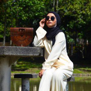 Fesyen Rasa Sayang, Ella Blouse Muslimah With Echo Palazzo Pant Set Cream White Color
