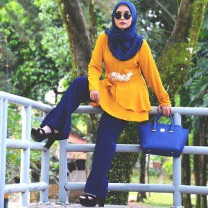 Fesyen Rasa Sayang, blouse muslimah malaysia, Savanah Blouse Muslimah Yellow Color