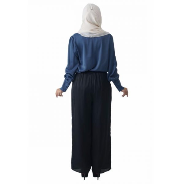 Fesyen Rasa Sayang, blouse muslimah online, Christa Blouse Muslimah Air Force Blue Color Back