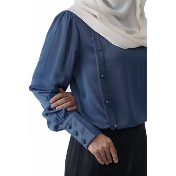 Fesyen Rasa Sayang, blouse muslimah online, Christa Blouse Muslimah Air Force Blue Color Close