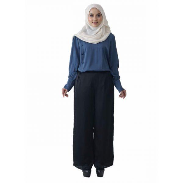Fesyen Rasa Sayang, blouse muslimah online, Christa Blouse Muslimah Air Force Blue Color Front