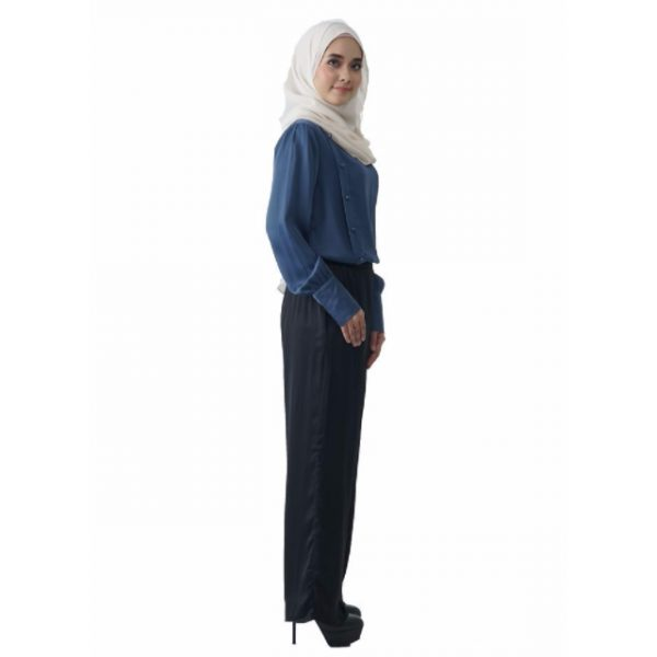 Fesyen Rasa Sayang, blouse muslimah online, Christa Blouse Muslimah Air Force Blue Color Side