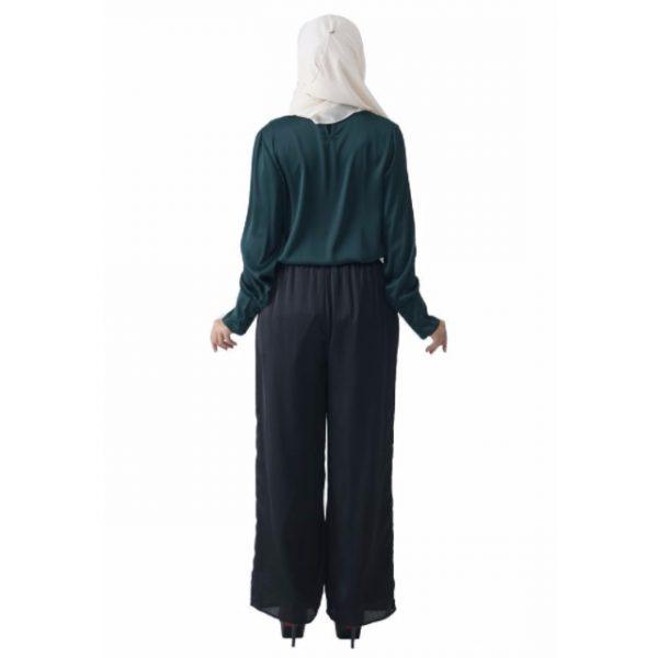 Fesyen Rasa Sayang, blouse muslimah online, Christa Blouse Muslimah Emerald Green Color Back
