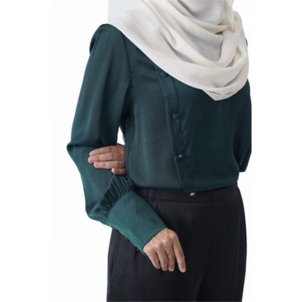 Fesyen Rasa Sayang, blouse muslimah online, Christa Blouse Muslimah Emerald Green Color Close