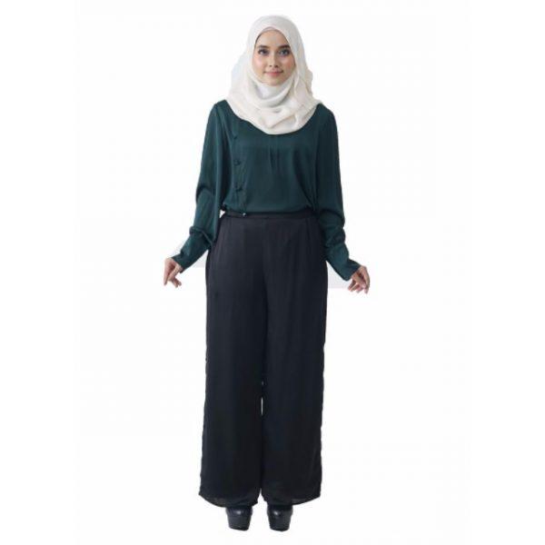 Fesyen Rasa Sayang, blouse muslimah online, Christa Blouse Muslimah Emerald Green Color Front