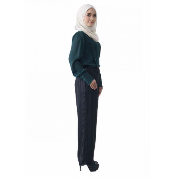 Fesyen Rasa Sayang, blouse muslimah online, Christa Blouse Muslimah Emerald Green Color Side