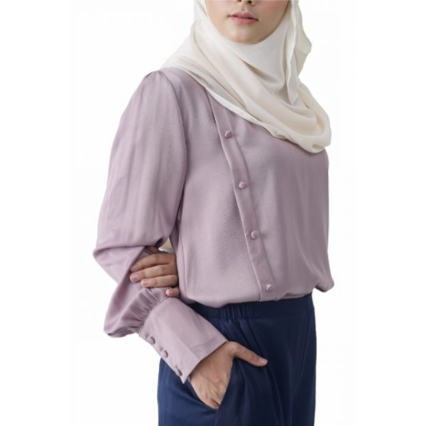 Fesyen Rasa Sayang, blouse muslimah online, Christa Blouse Muslimah Light Purple Color Close
