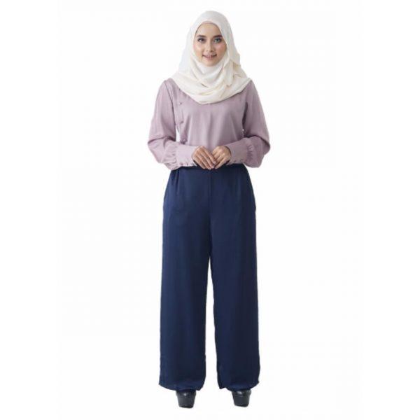 Fesyen Rasa Sayang, blouse muslimah online, Christa Blouse Muslimah Light Purple Color Front
