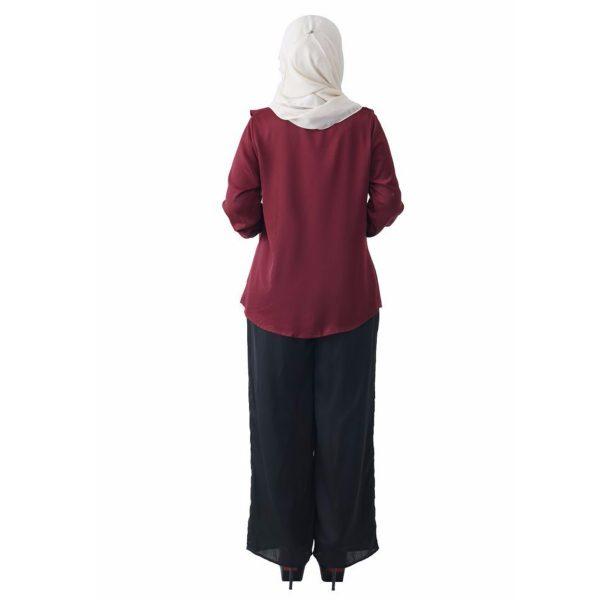 Fesyen Rasa Sayang, blouse muslimah online, Elmina Blouse Muslimah Maroon Color Back