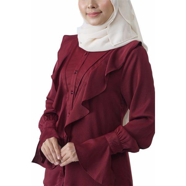 Fesyen Rasa Sayang, blouse muslimah online, Elmina Blouse Muslimah Maroon Color Close