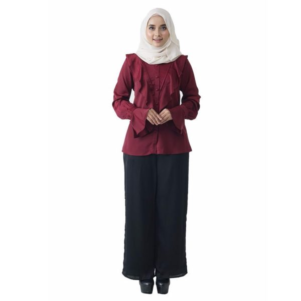 Fesyen Rasa Sayang, blouse muslimah online, Elmina Blouse Muslimah Maroon Color Front