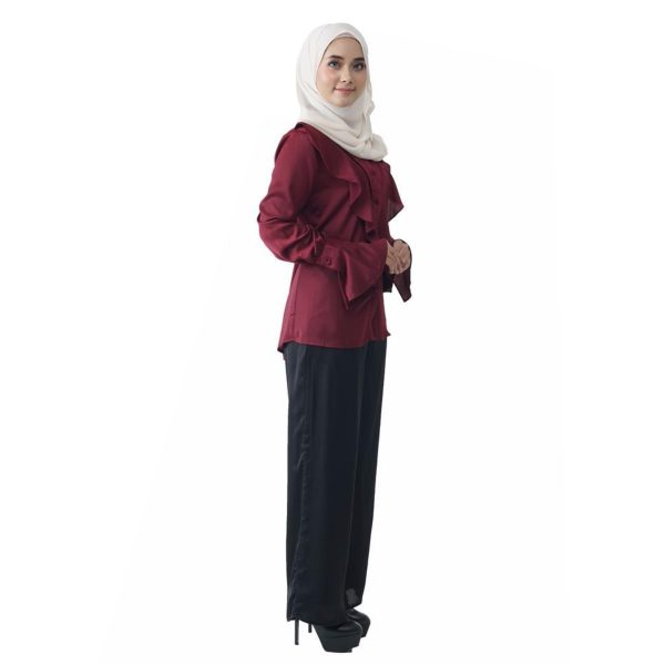Fesyen Rasa Sayang, blouse muslimah online, Elmina Blouse Muslimah Maroon Color Side