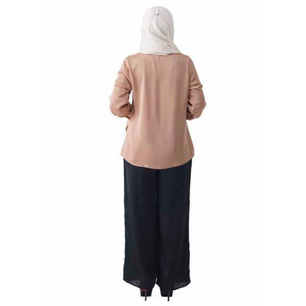 Fesyen Rasa Sayang, blouse muslimah online, Elmina Blouse Muslimah Milk Tea Color Back