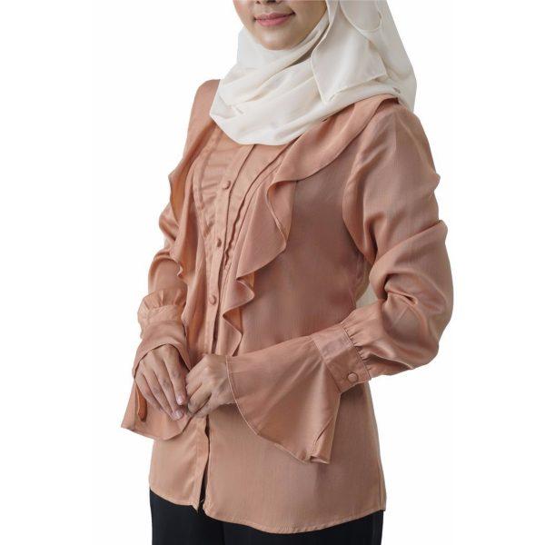 Fesyen Rasa Sayang, blouse muslimah online, Elmina Blouse Muslimah Milk Tea Color Close