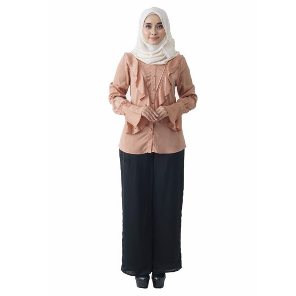 Fesyen Rasa Sayang, blouse muslimah online, Elmina Blouse Muslimah Milk Tea Color Front