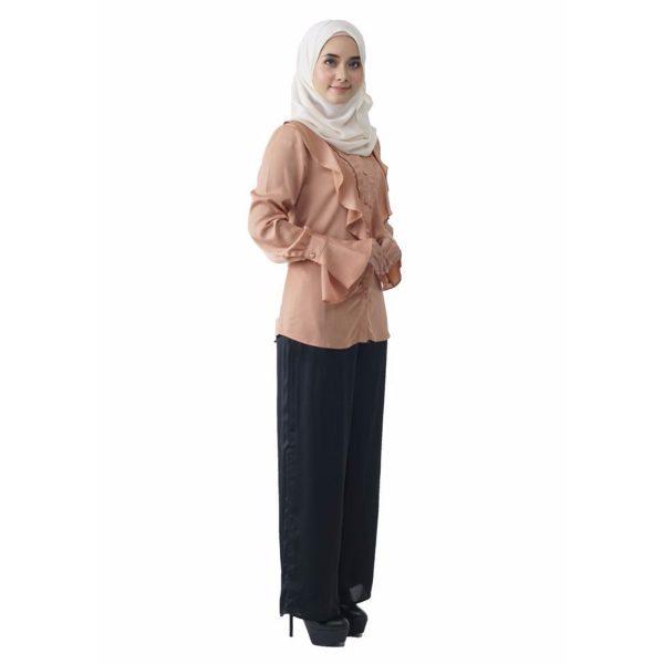 Fesyen Rasa Sayang, blouse muslimah online, Elmina Blouse Muslimah Milk Tea Color Side