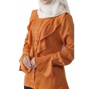 Fesyen Rasa Sayang, blouse muslimah online, Elmina Blouse Muslimah Pumpkin Orange Color Close