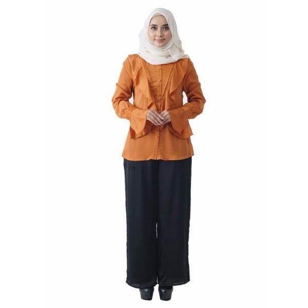 Fesyen Rasa Sayang, blouse muslimah online, Elmina Blouse Muslimah Pumpkin Orange Color Front