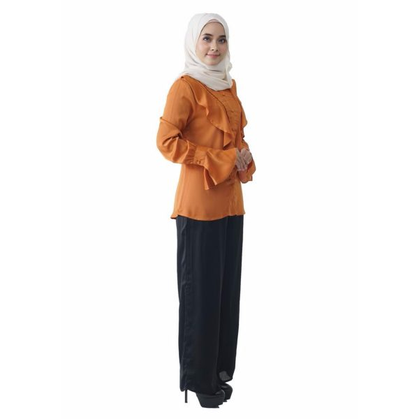 Fesyen Rasa Sayang, blouse muslimah online, Elmina Blouse Muslimah Pumpkin Orange Color Side