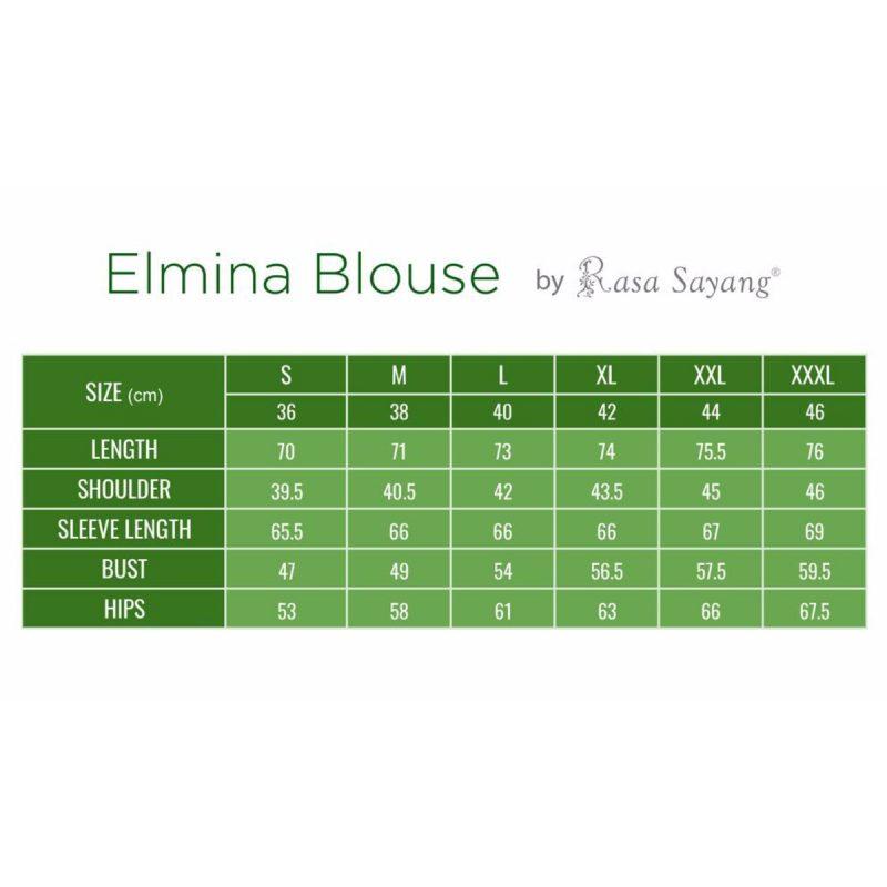 Elmina Blouse Muslimah Size Chart