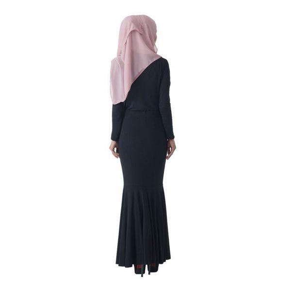 Fesyen Rasa Sayang, skirts muslimah online malaysia, Elna Mermaid Skirt Black Color Back