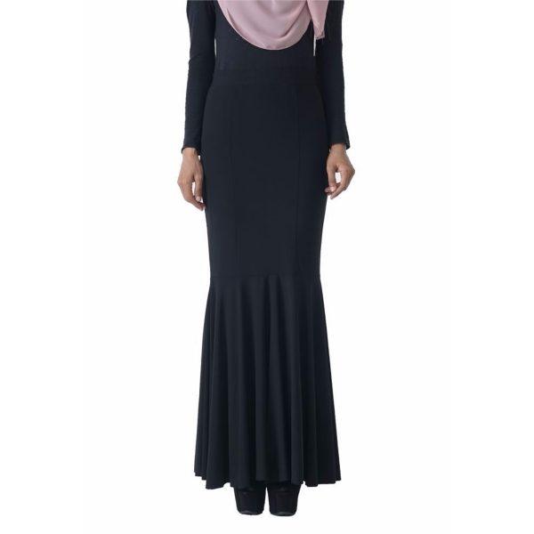 Fesyen Rasa Sayang, skirts muslimah online malaysia, Elna Mermaid Skirt Black Color Close