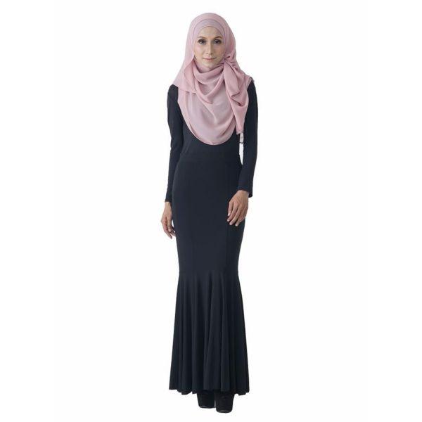 Fesyen Rasa Sayang, skirts muslimah online malaysia, Elna Mermaid Skirt Black Color Front