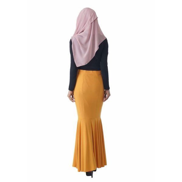 Fesyen Rasa Sayang, skirts muslimah online malaysia, Elna Mermaid Skirt Mustard Yellow Color Back