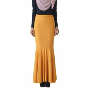 Fesyen Rasa Sayang, skirts muslimah online malaysia, Elna Mermaid Skirt Mustard Yellow Color Close