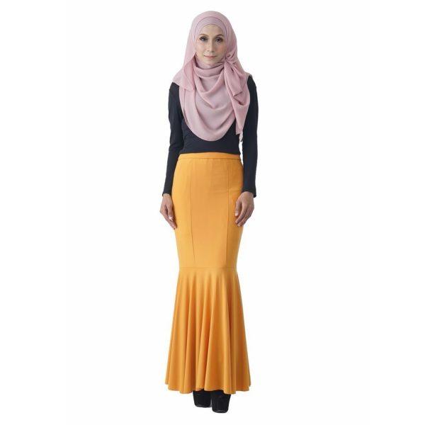 Fesyen Rasa Sayang, skirts muslimah online malaysia, Elna Mermaid Skirt Mustard Yellow Color Front