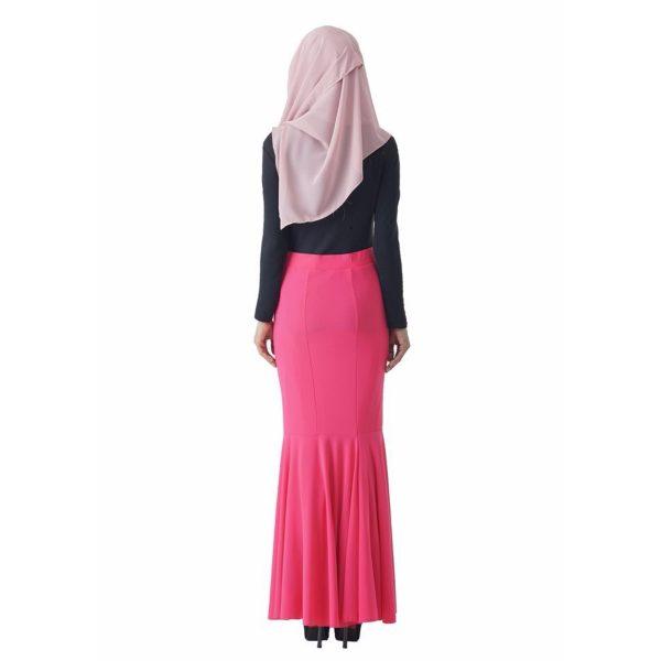 Fesyen Rasa Sayang, skirts muslimah online malaysia, Elna Mermaid Skirt Neon Pink Color Back