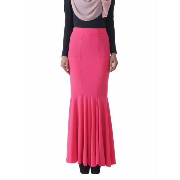 Fesyen Rasa Sayang, skirts muslimah online malaysia, Elna Mermaid Skirt Neon Pink Color Close