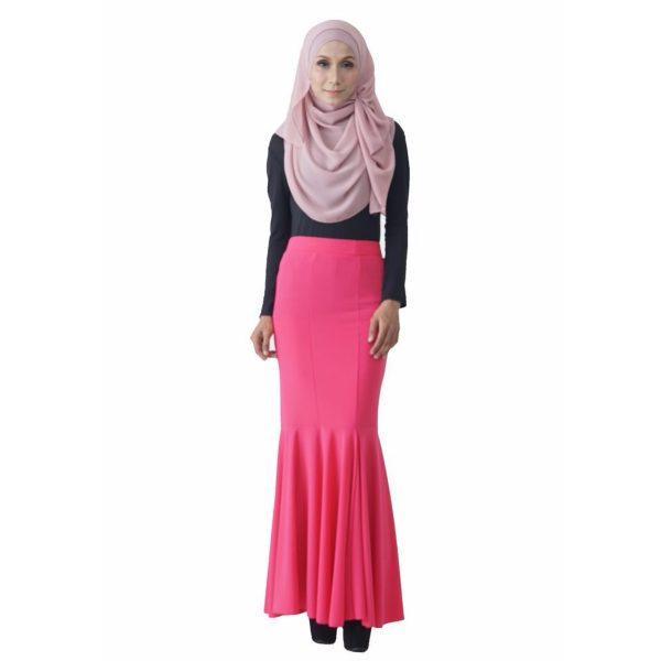 Fesyen Rasa Sayang, skirts muslimah online malaysia, Elna Mermaid Skirt Neon Pink Color Front