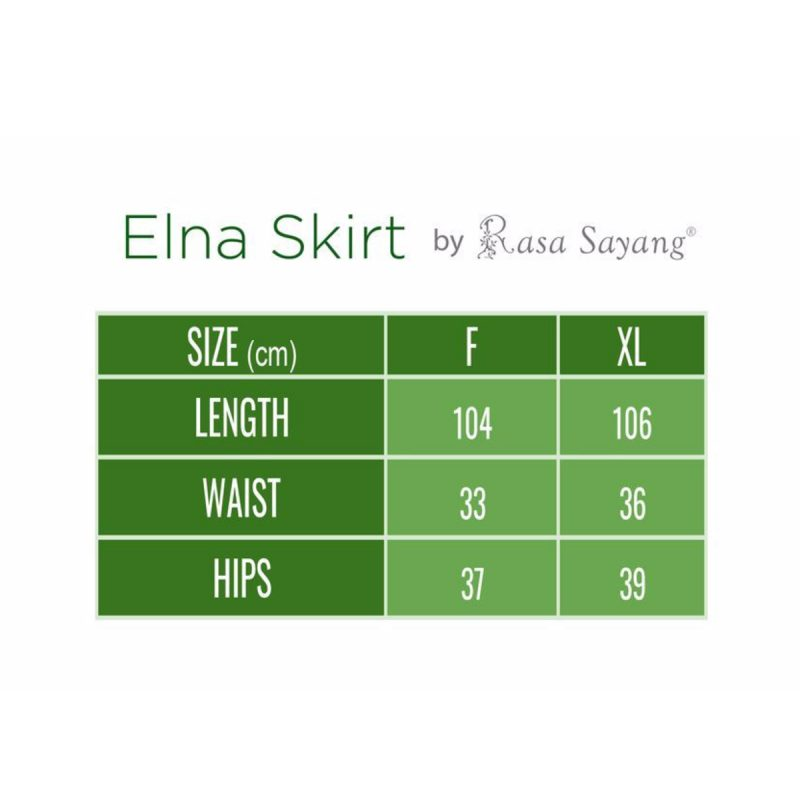 Elna Mermaid Skirt Size Chart, long skirt muslimah