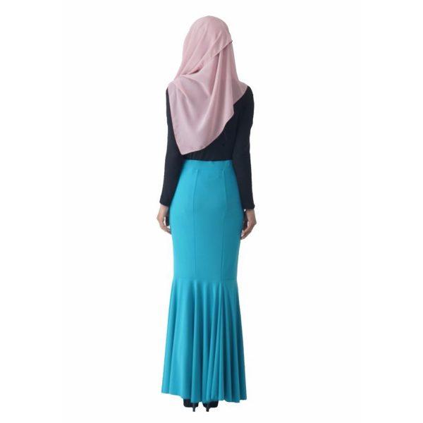 Fesyen Rasa Sayang, skirts muslimah online malaysia, Elna Mermaid Skirt Sky Blue Color Back