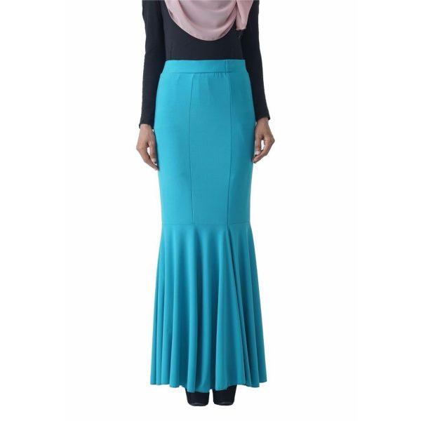 Fesyen Rasa Sayang, skirts muslimah online malaysia, Elna Mermaid Skirt Sky Blue Color Close