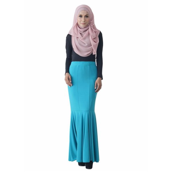 Fesyen Rasa Sayang, skirts muslimah online malaysia, Elna Mermaid Skirt Sky Blue Color Front