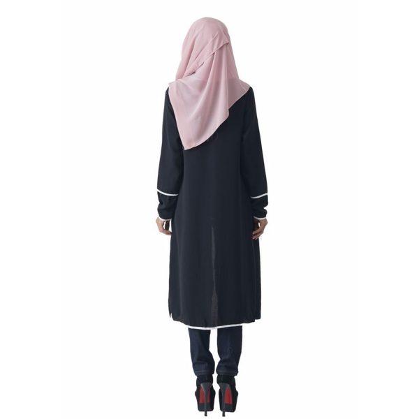 Fesyen Rasa Sayang, outerwear for women, Hannah Chiffon Cardigan Black Color Back