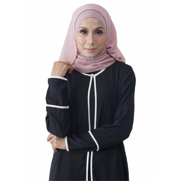 Fesyen Rasa Sayang, outerwear for women, Hannah Chiffon Cardigan Black Color Close