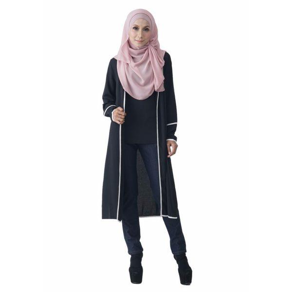Fesyen Rasa Sayang, outerwear for women, Hannah Chiffon Cardigan Black Color Front