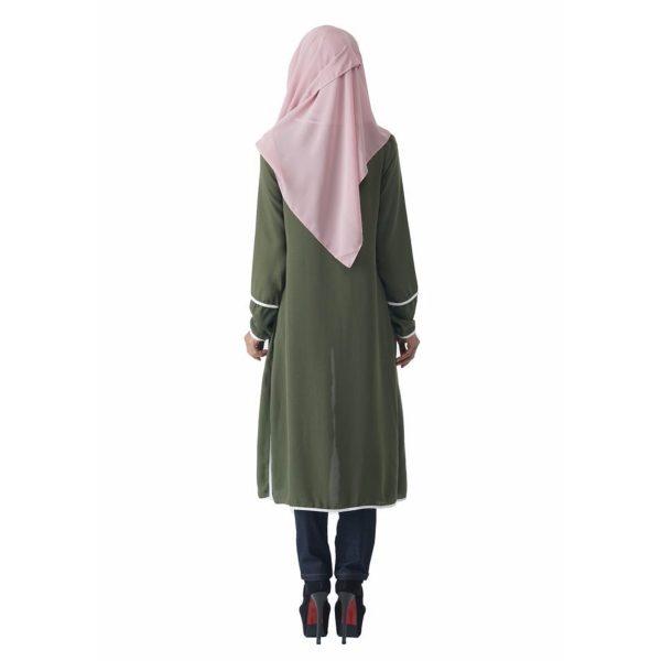Fesyen Rasa Sayang, outerwear for women, Hannah Chiffon Cardigan Matcha Green Color Back