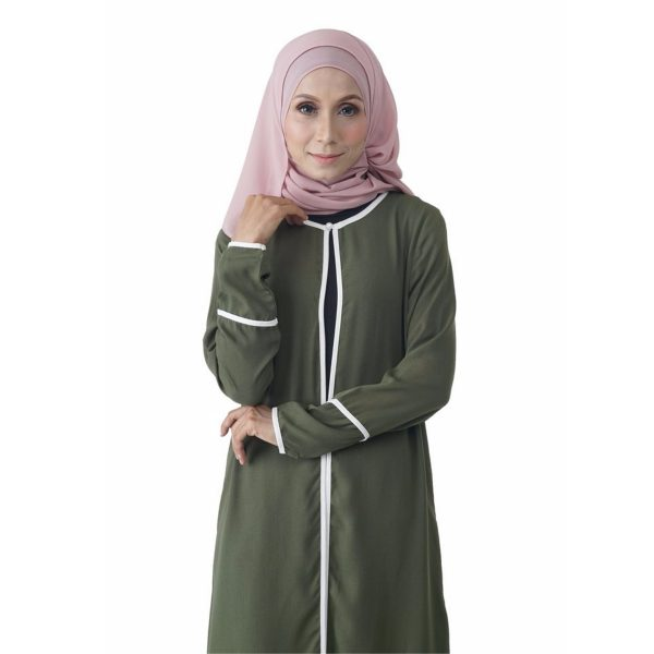 Fesyen Rasa Sayang, outerwear for women, Hannah Chiffon Cardigan Matcha Green Color Close