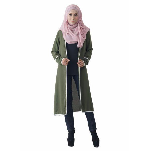 Fesyen Rasa Sayang, outerwear for women, Hannah Chiffon Cardigan Matcha Green Color Front