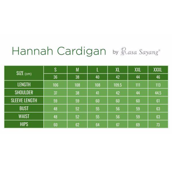 Fesyen Rasa Sayang, outerwear for women, Hannah Chiffon Cardigan Size Chart