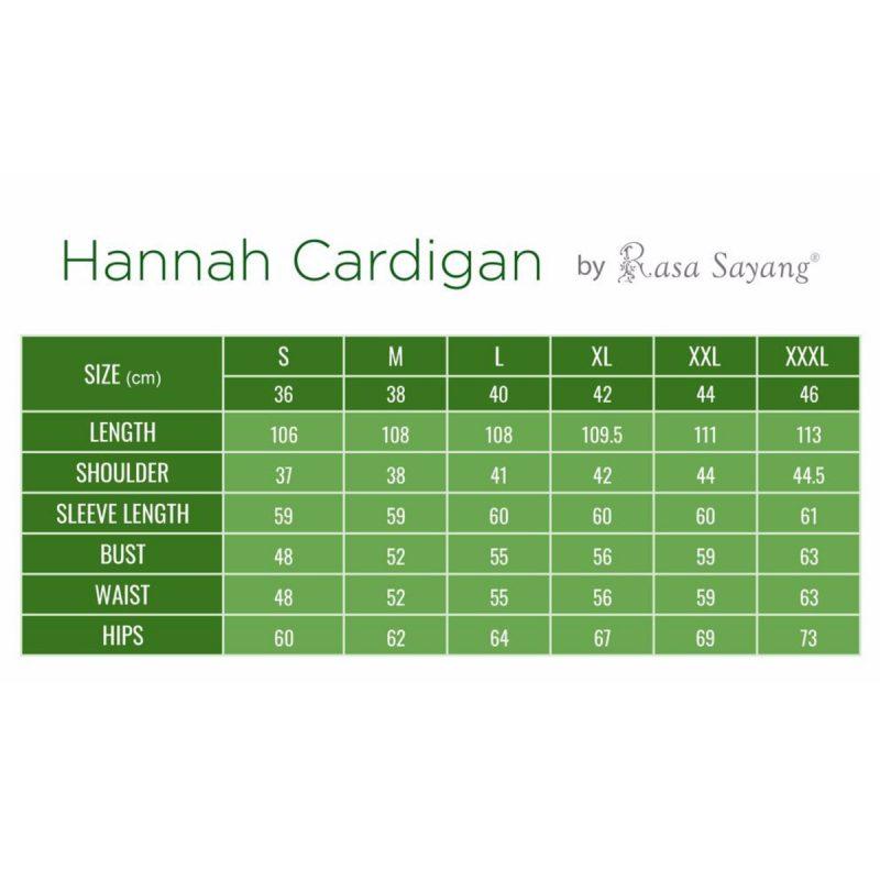 Hannah Chiffon Cardigan Size Chart