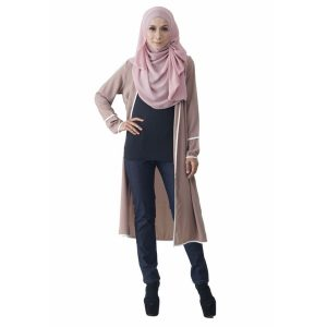 Fesyen Rasa Sayang, outerwear for women, Hannah Chiffon Cardigan Warm Beige Color Front