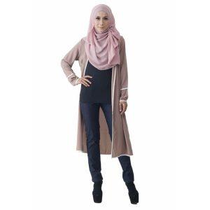 Fesyen Rasa Sayang, outerwear for women, Hannah Chiffon Cardigan Warm Beige Color Front