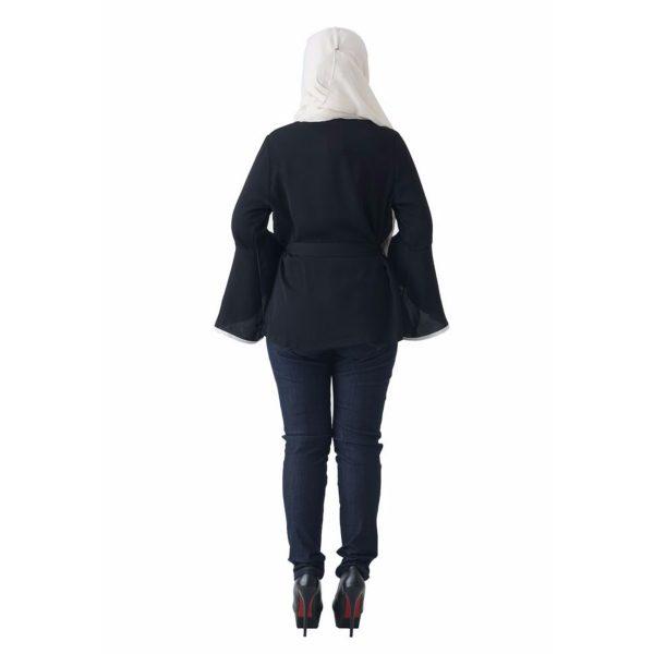 Fesyen Rasa Sayang, outerwear for women, Jelita Kimono Cardigan Black Color Back